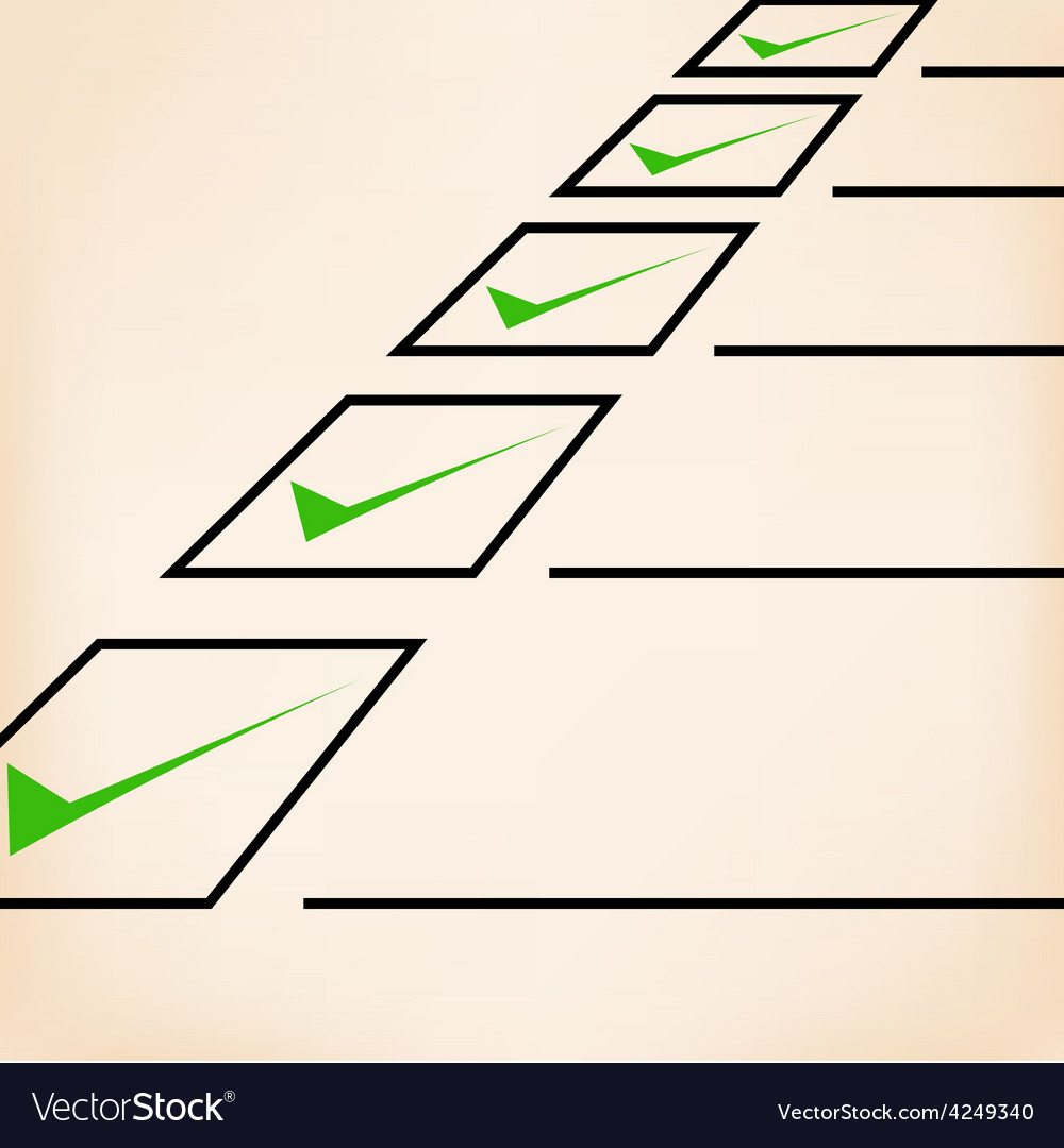 Business goals checklist with green markers lines vector | Price: 1 Credit (USD $1)