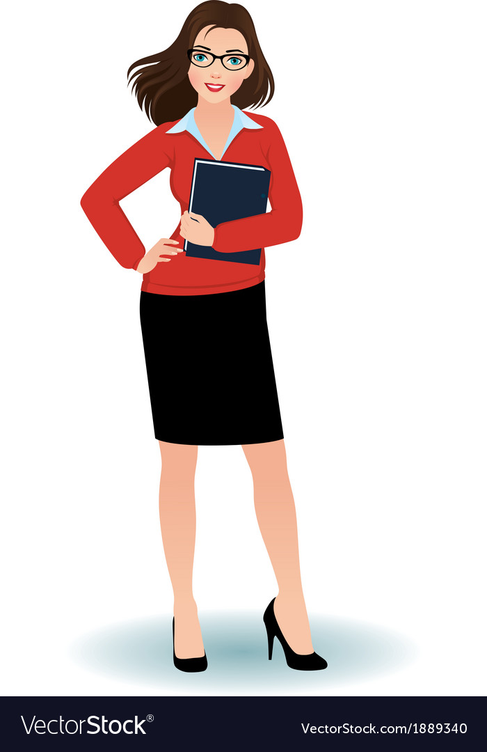 Business woman with a binder vector | Price: 1 Credit (USD $1)