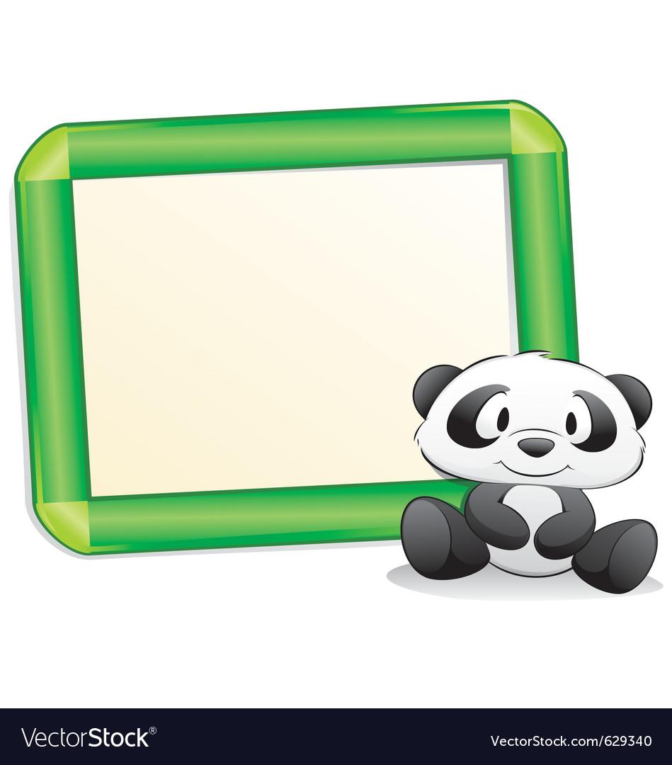 Cartoon panda with frame vector | Price: 3 Credit (USD $3)