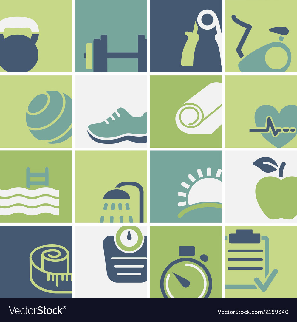 Fitness and wellness club icons set vector | Price: 1 Credit (USD $1)