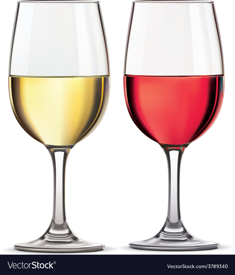 Glass of red and whine wine vector | Price: 1 Credit (USD $1)