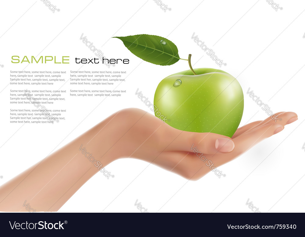 Green ripe apple in a hand vector | Price: 3 Credit (USD $3)