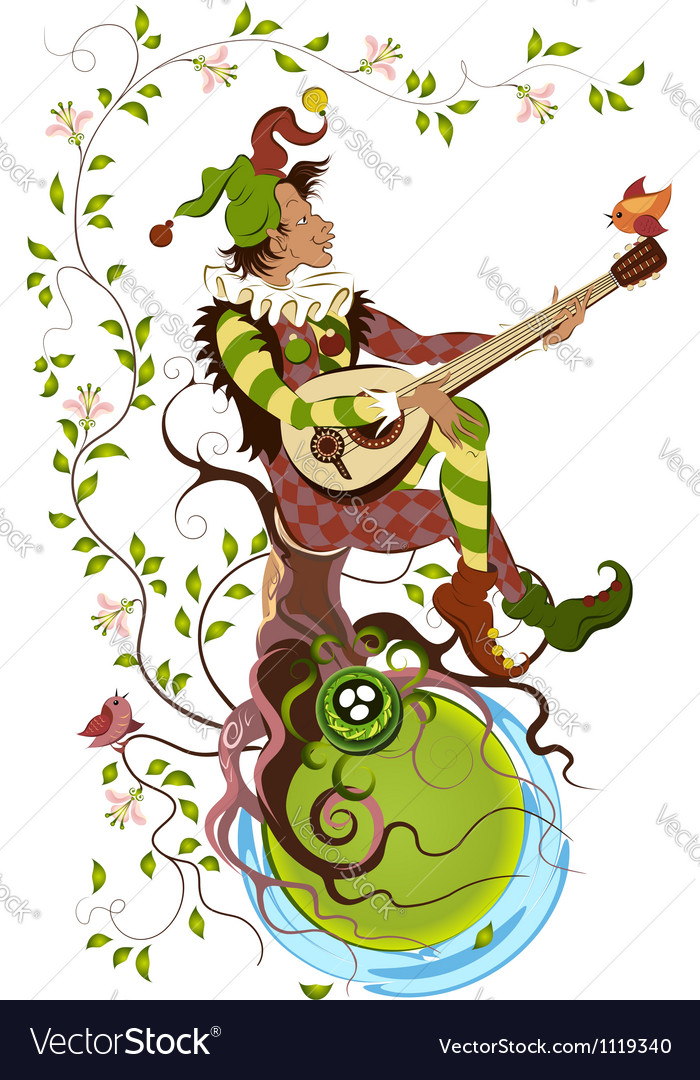 Jolly jester playing the mandolin vector | Price: 1 Credit (USD $1)