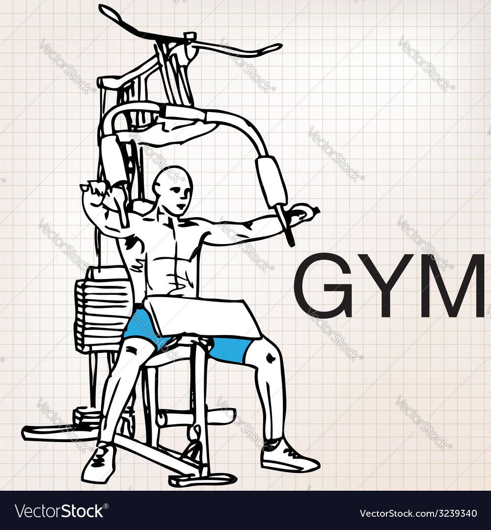 Muscular man exercising on a lat machine in gym vector | Price: 1 Credit (USD $1)