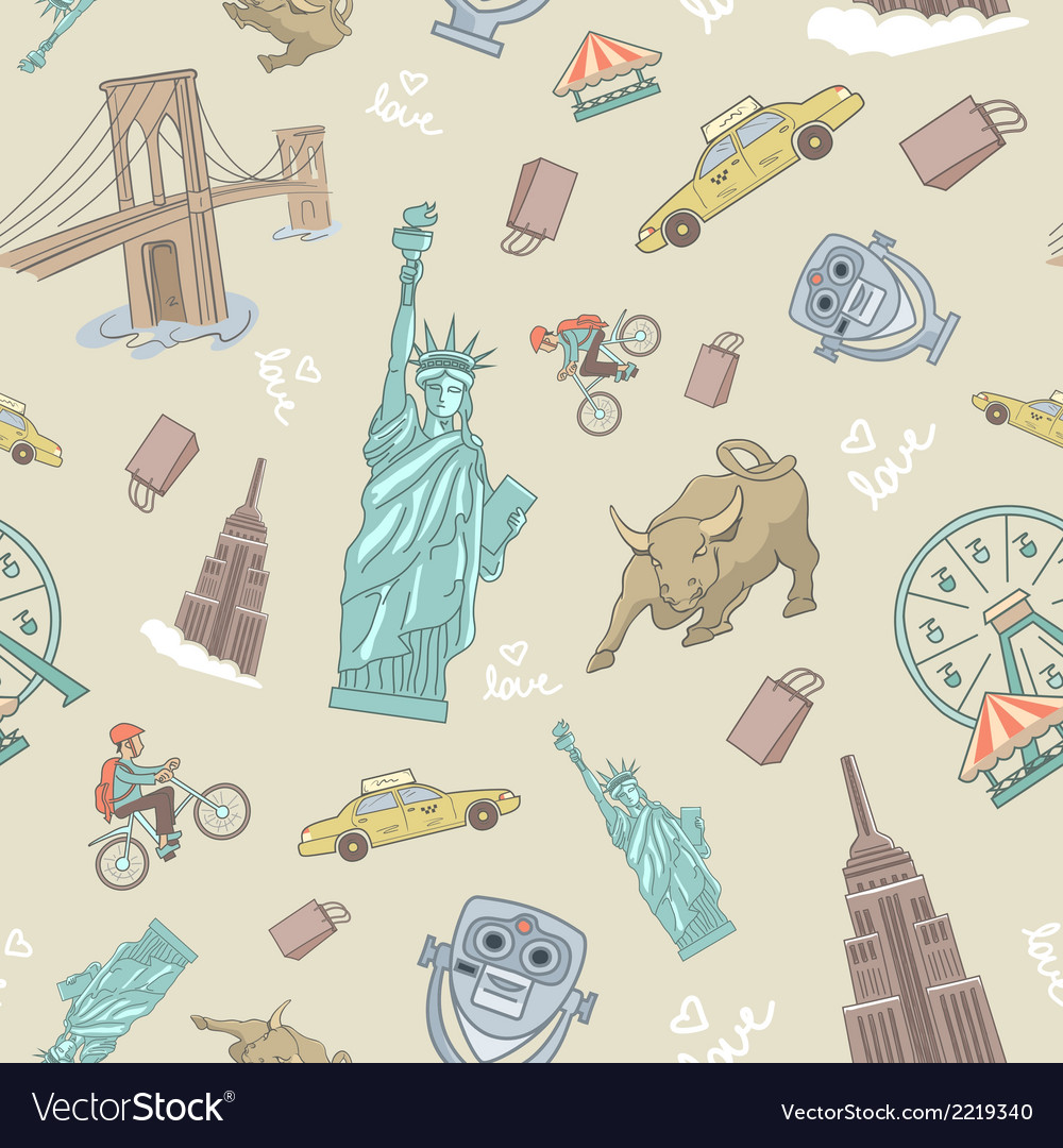 New york seamless pattern vector | Price: 1 Credit (USD $1)