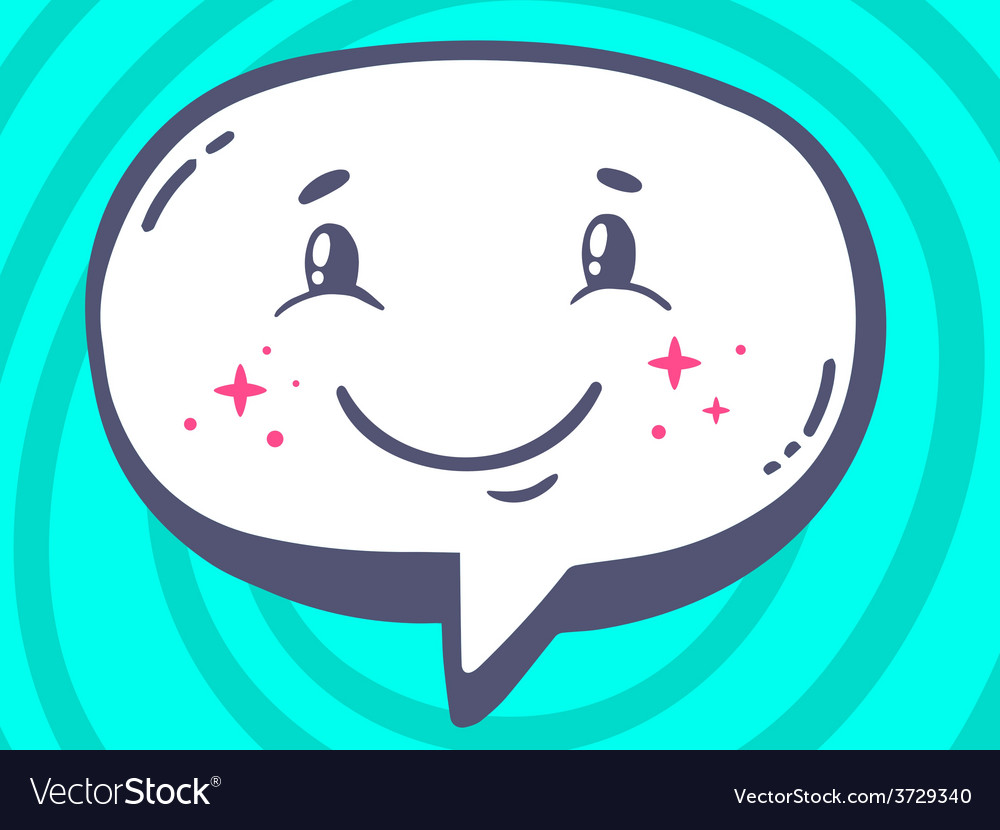 Speech bubble with icon of smile on blue vector | Price: 1 Credit (USD $1)