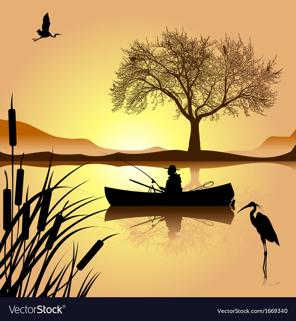 Sunset lake vector | Price: 1 Credit (USD $1)
