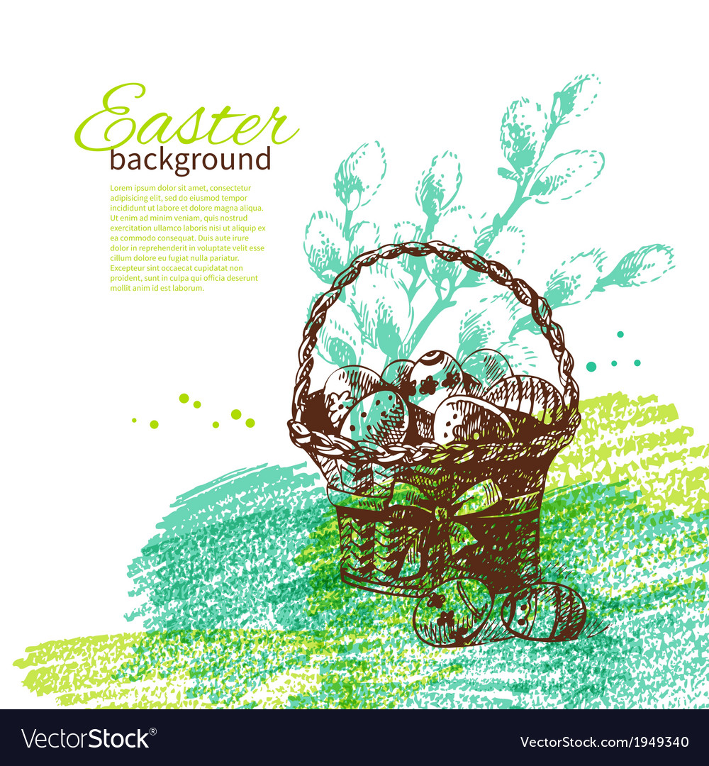 Vintage easter background with hand drawn sketch vector | Price: 1 Credit (USD $1)