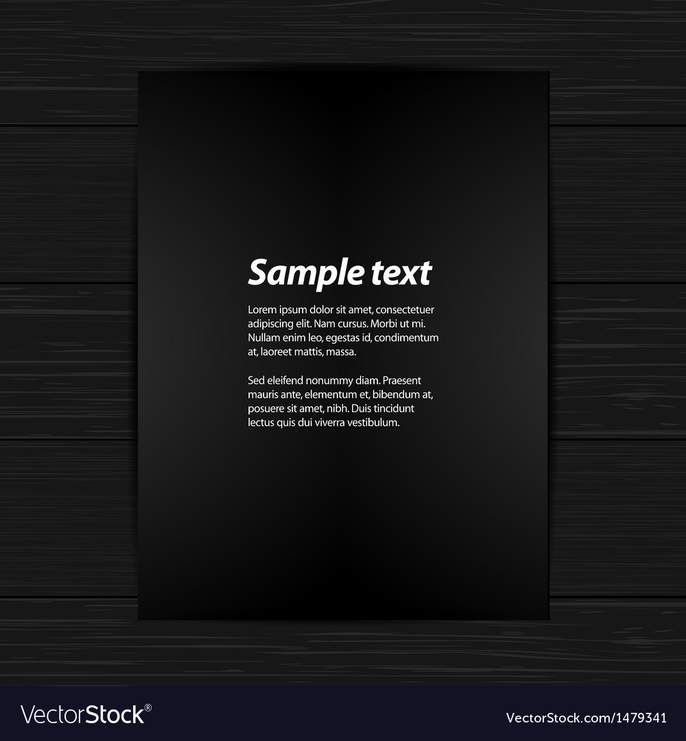 Black panel on black wood wih sample text vector | Price: 1 Credit (USD $1)