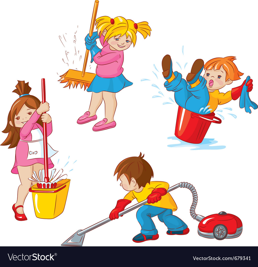 Children busy cleaning up apartments vector | Price: 5 Credit (USD $5)