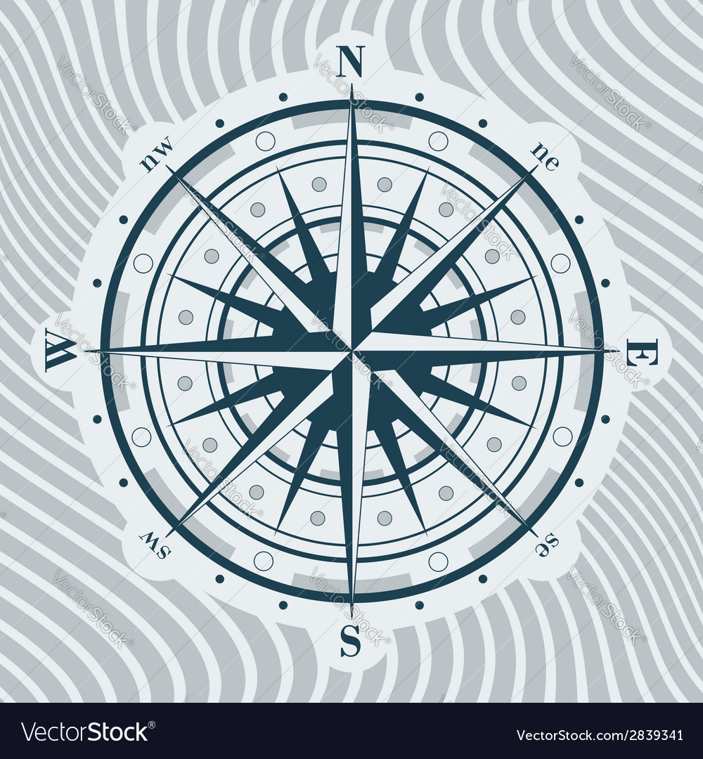 Compass rose over background with waves vector | Price: 1 Credit (USD $1)