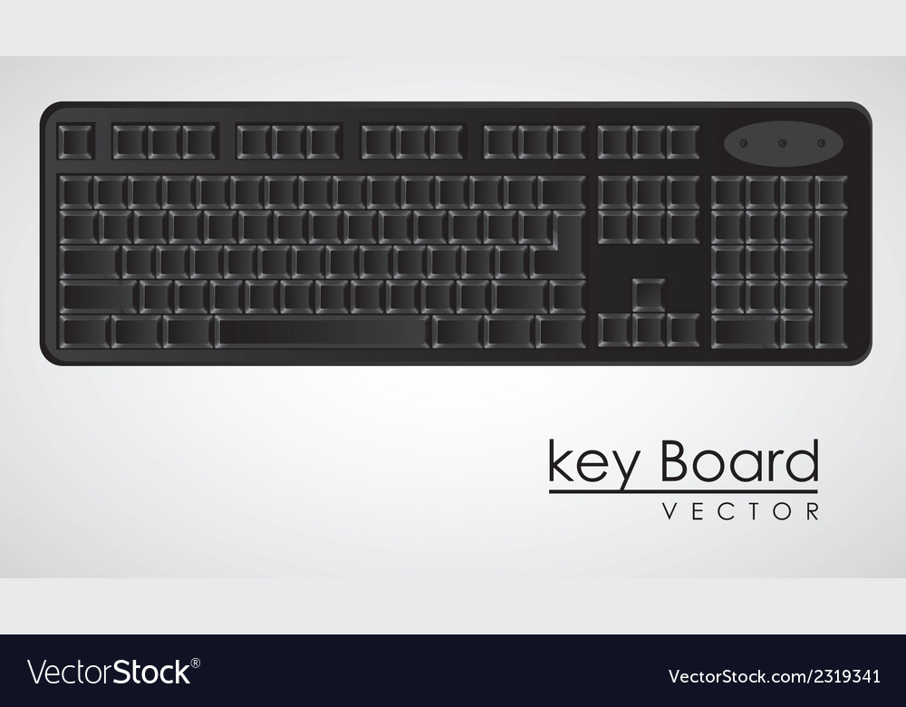Computer keyboard to black with white letters vector | Price: 1 Credit (USD $1)