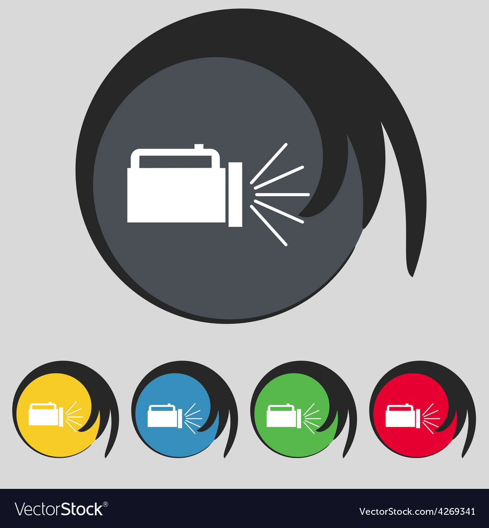Flashlight icon sign symbol on five colored vector | Price: 1 Credit (USD $1)