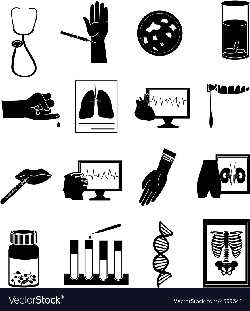 Medical tests icons set vector
