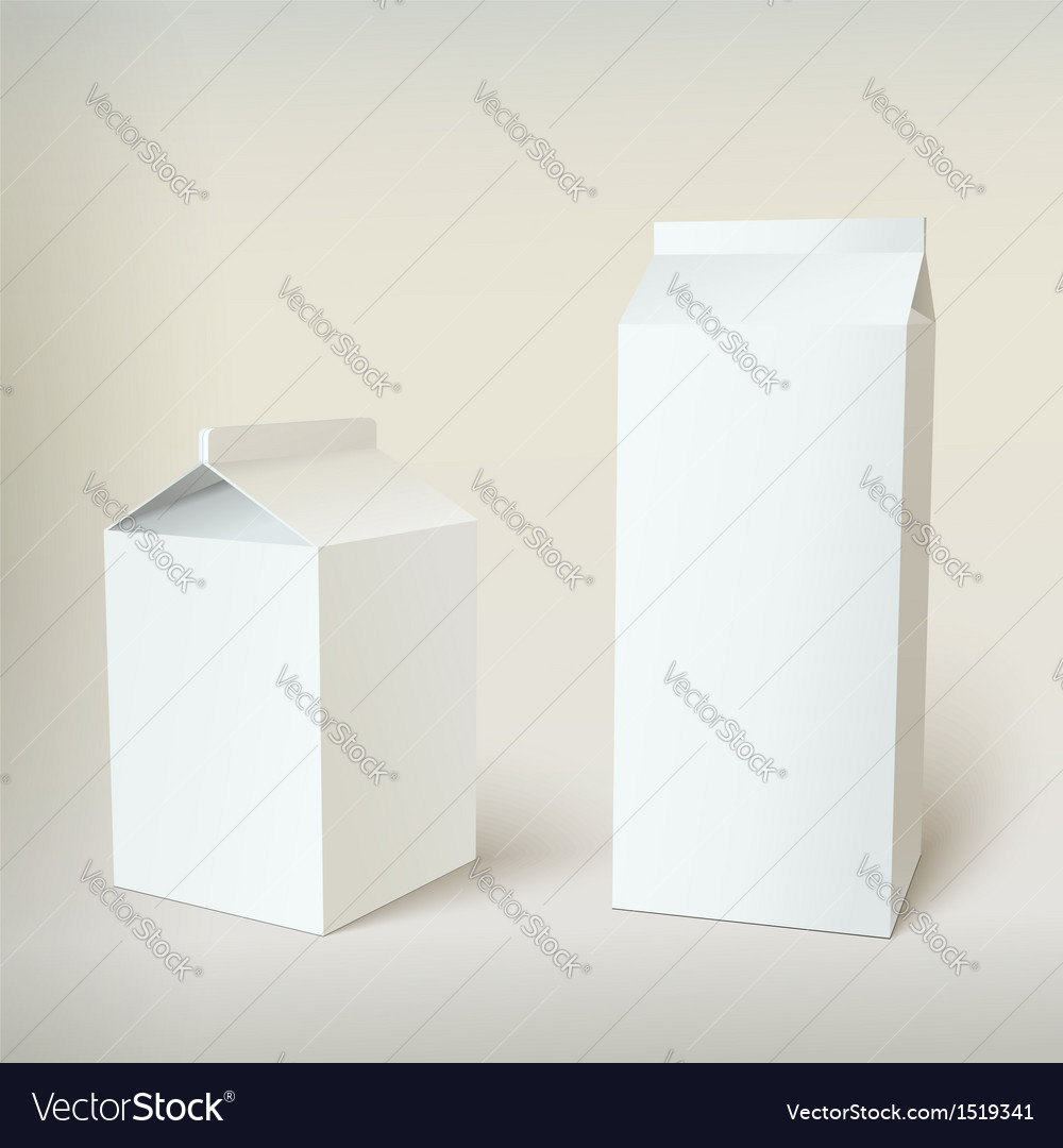 Milk carton packages blank white vector | Price: 1 Credit (USD $1)