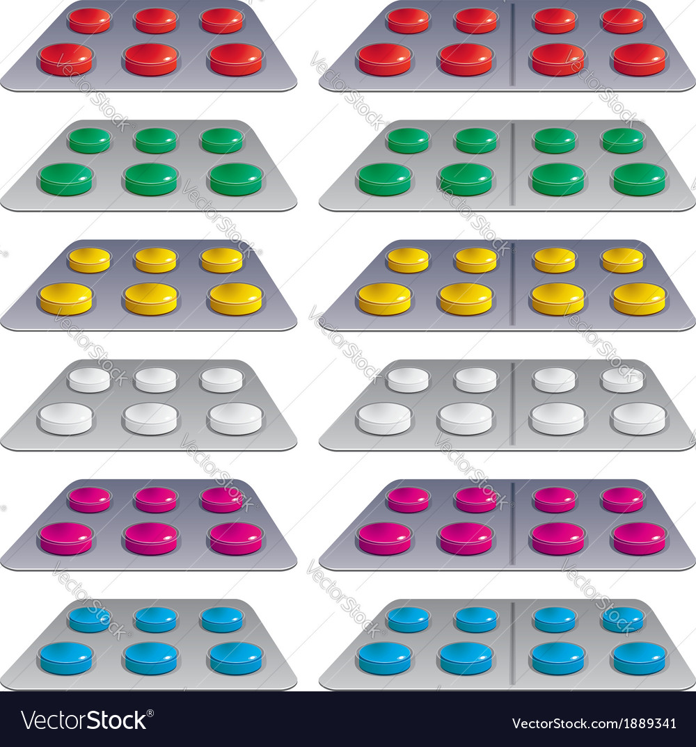 Pills in blisters vector | Price: 1 Credit (USD $1)