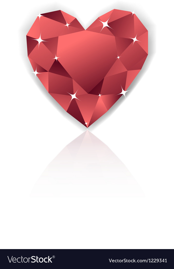 Shiny red heart diamond with reflection vector | Price: 1 Credit (USD $1)
