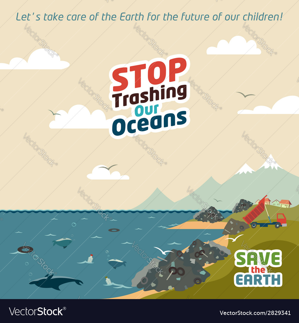 Stop trashing our oceans vector | Price: 1 Credit (USD $1)