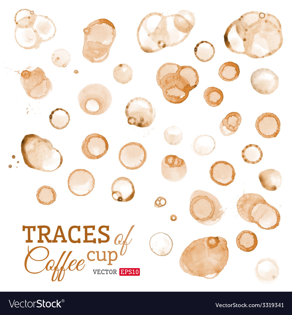 Traces of coffee cup isolated on white background vector | Price: 1 Credit (USD $1)