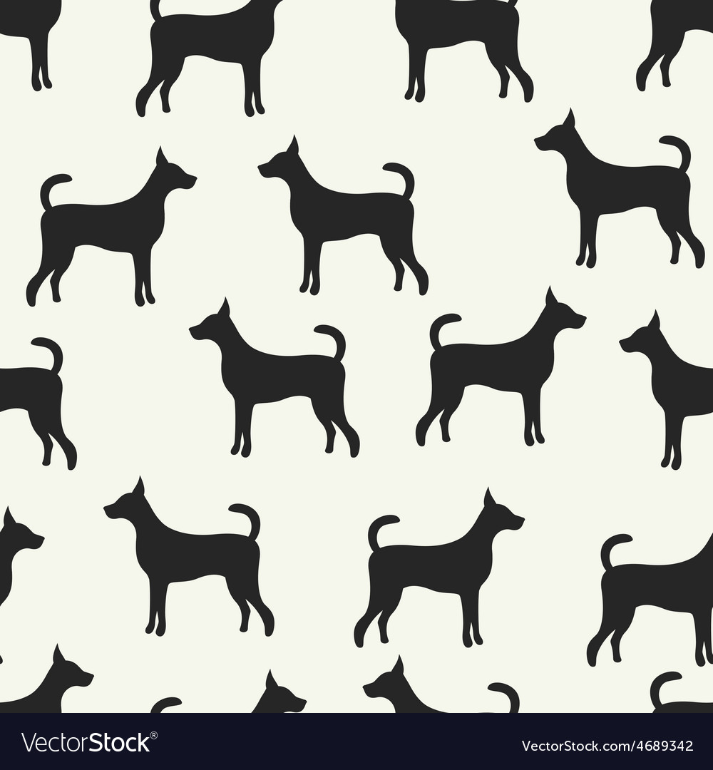 Animal seamless pattern of dog silhouettes vector | Price: 1 Credit (USD $1)