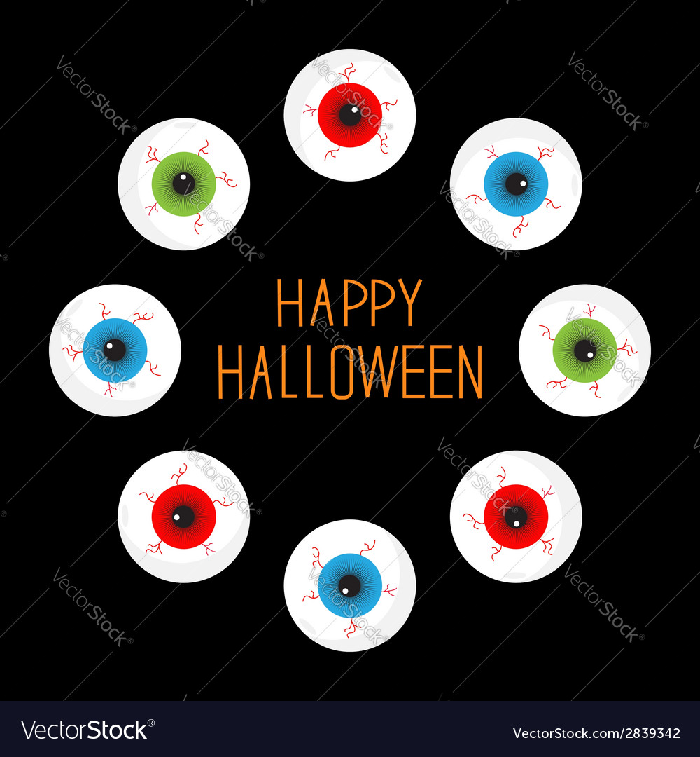 Eyeballs with bloody streaks round frame on black vector | Price: 1 Credit (USD $1)