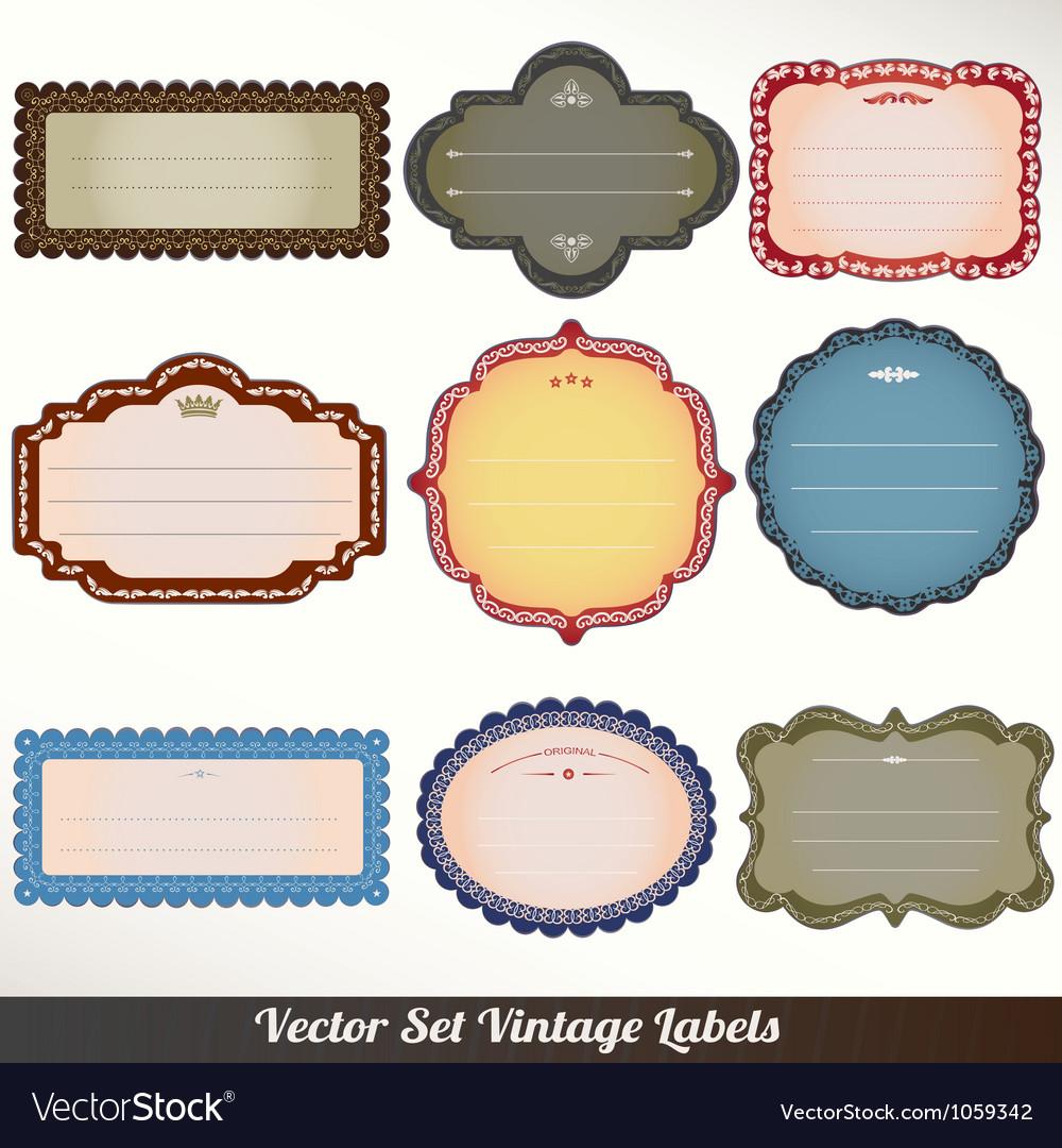 Frame labels set ornamental vintage vector   Price: 1 Credit (USD $1)