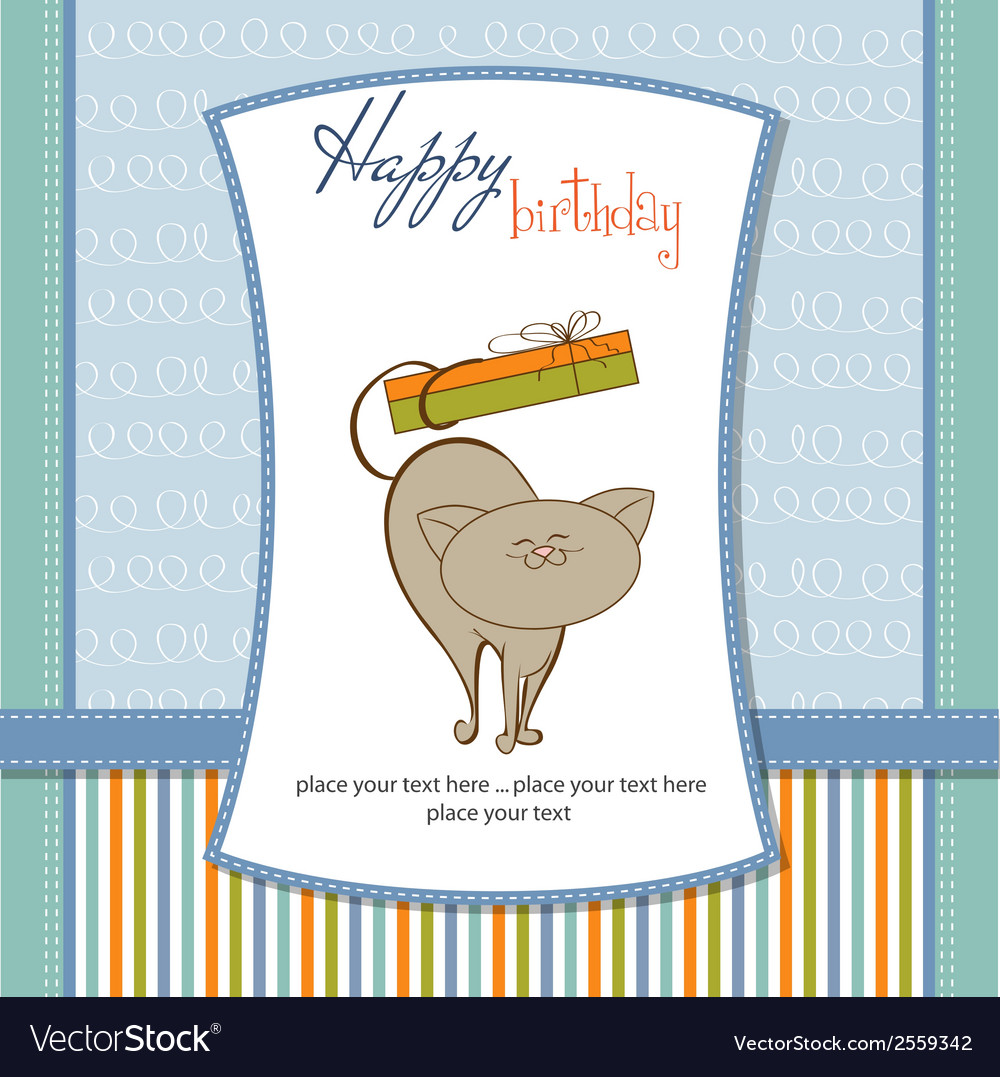 Happy birthday card with cute cat vector | Price: 1 Credit (USD $1)