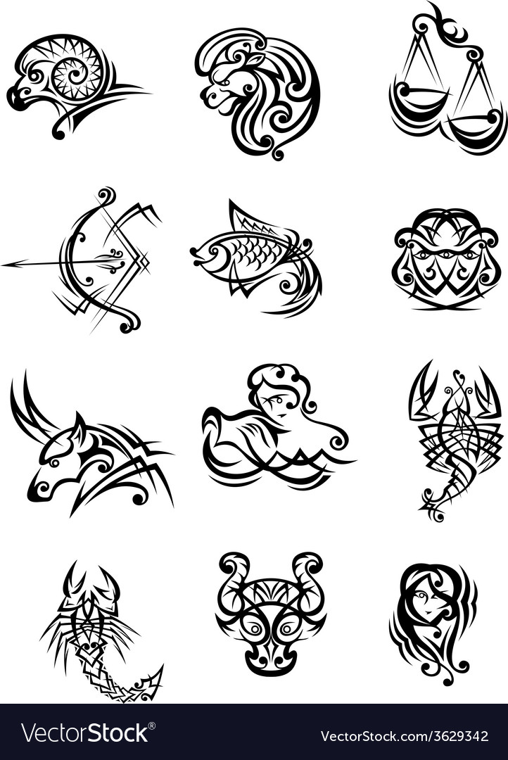 Set of black and white zodiac signs vector | Price: 1 Credit (USD $1)