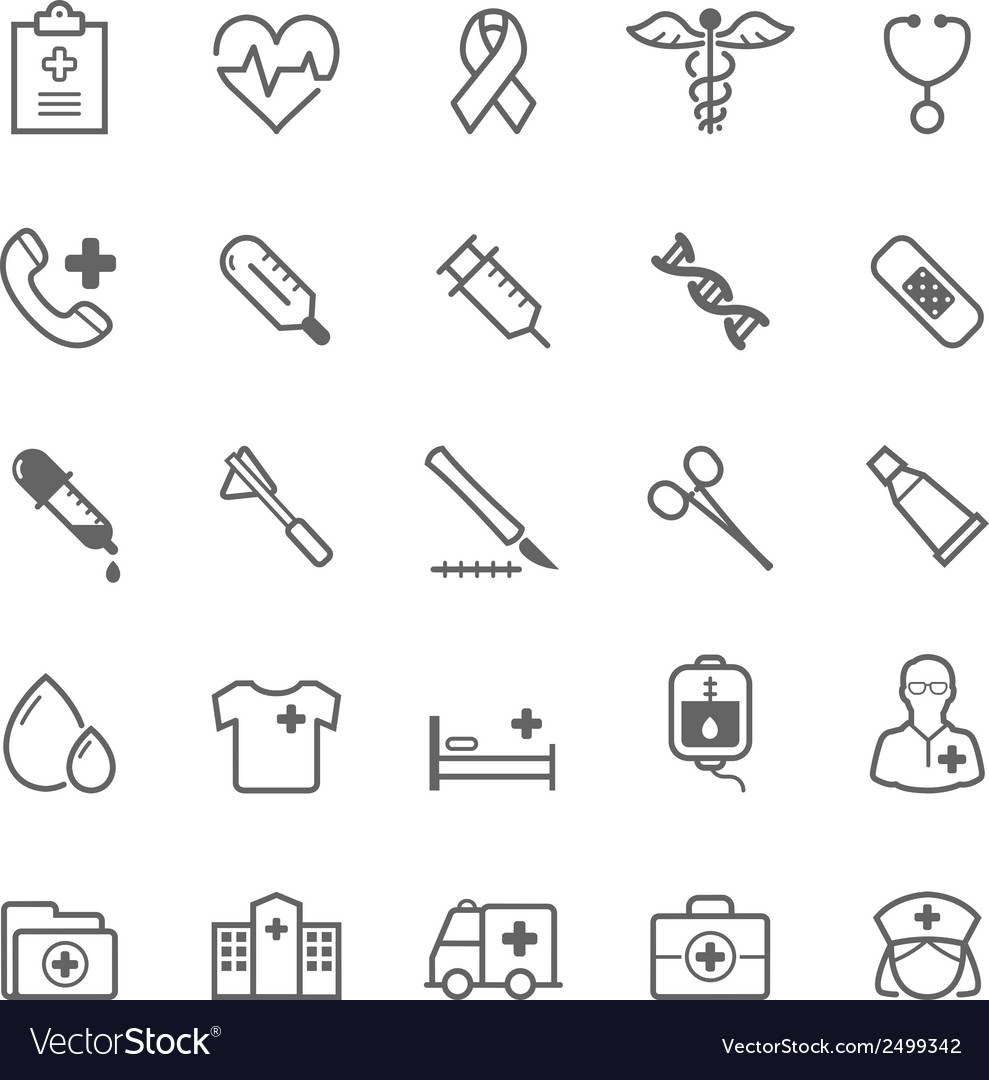 Set of outline stroke medical icon vector | Price: 1 Credit (USD $1)
