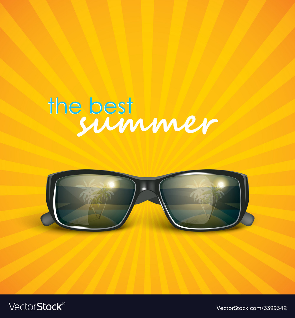 Sunglasses with tropical island reflection summer vector | Price: 1 Credit (USD $1)