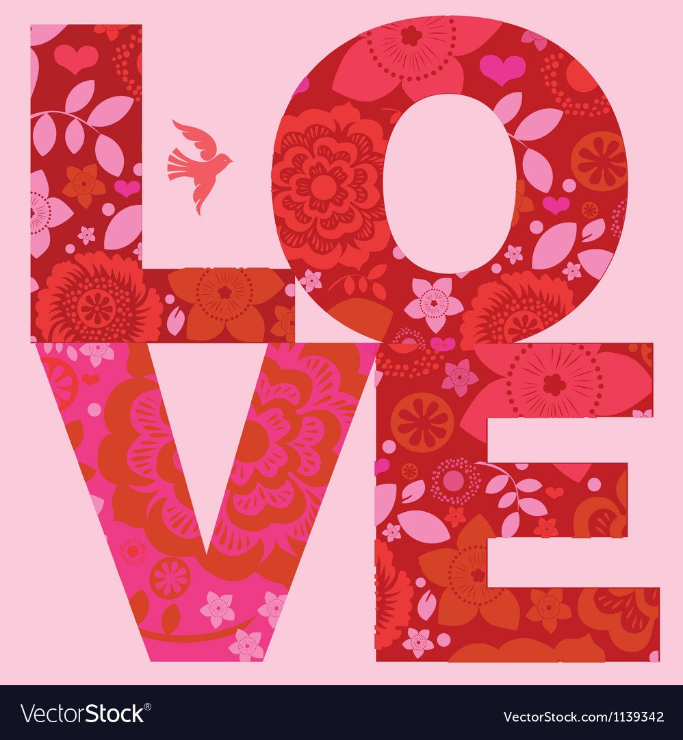 Valentine day love message floral poster vector | Price: 1 Credit (USD $1)