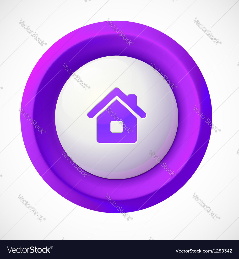 Violet plastic home round button vector | Price: 1 Credit (USD $1)