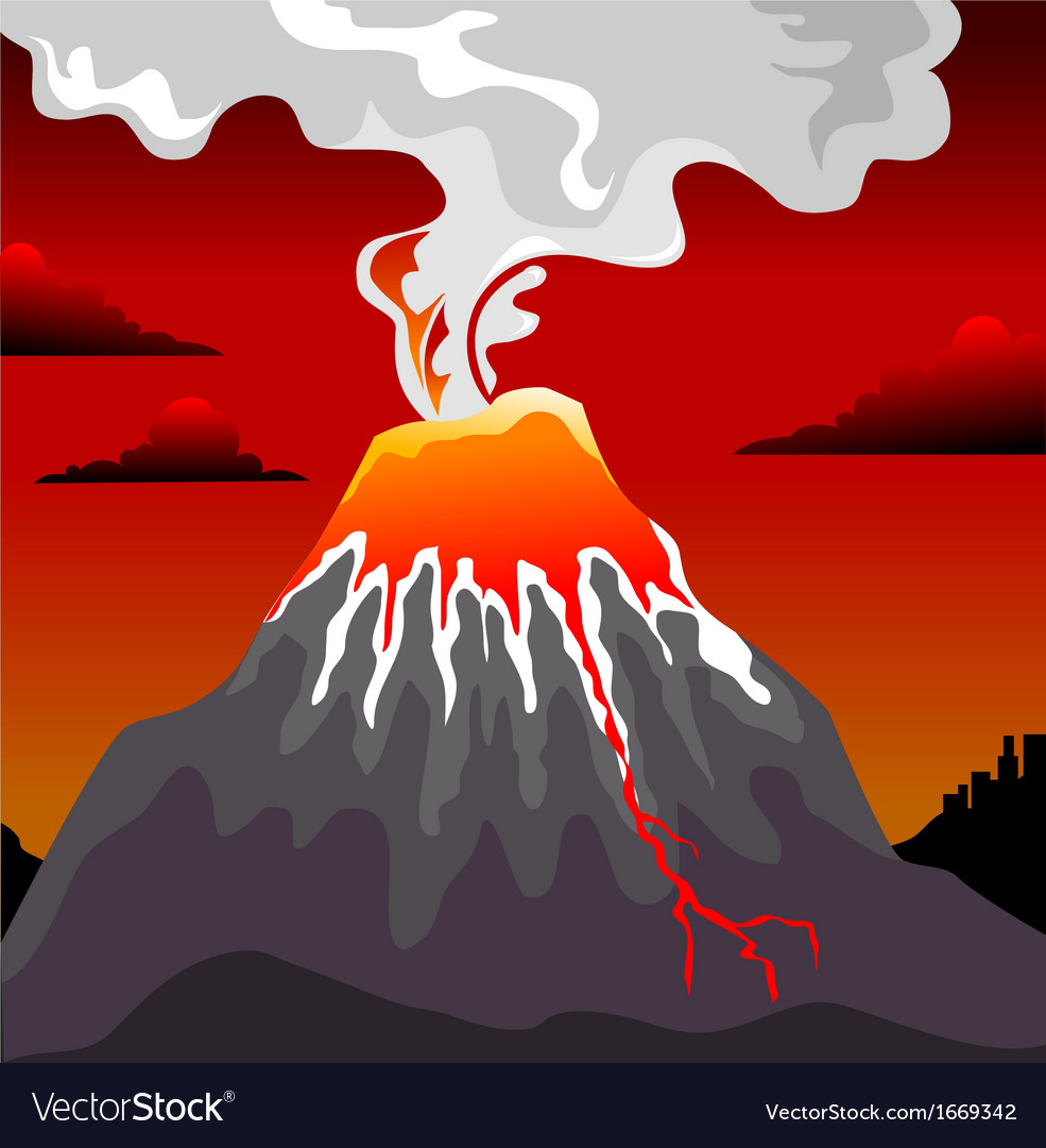 Volcano errupting vector | Price: 1 Credit (USD $1)