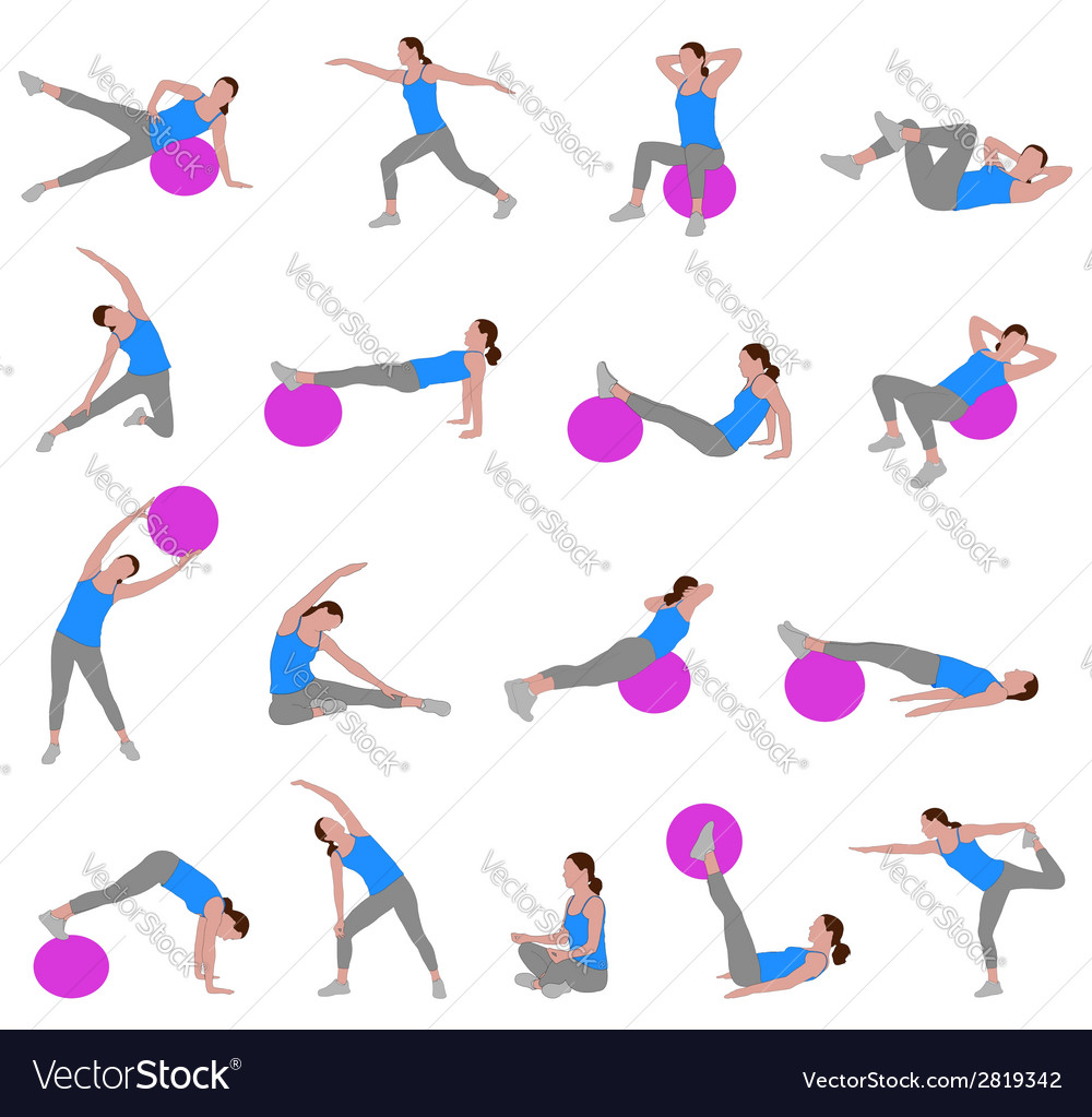 Women doing pilates vector | Price: 1 Credit (USD $1)