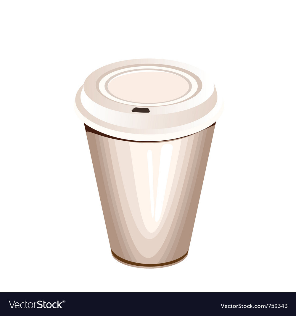 A blank white paper coffee cup with plastic lid vector | Price: 1 Credit (USD $1)