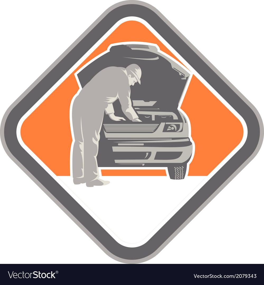 Automotive mechanic car repair woodcut vector | Price: 1 Credit (USD $1)