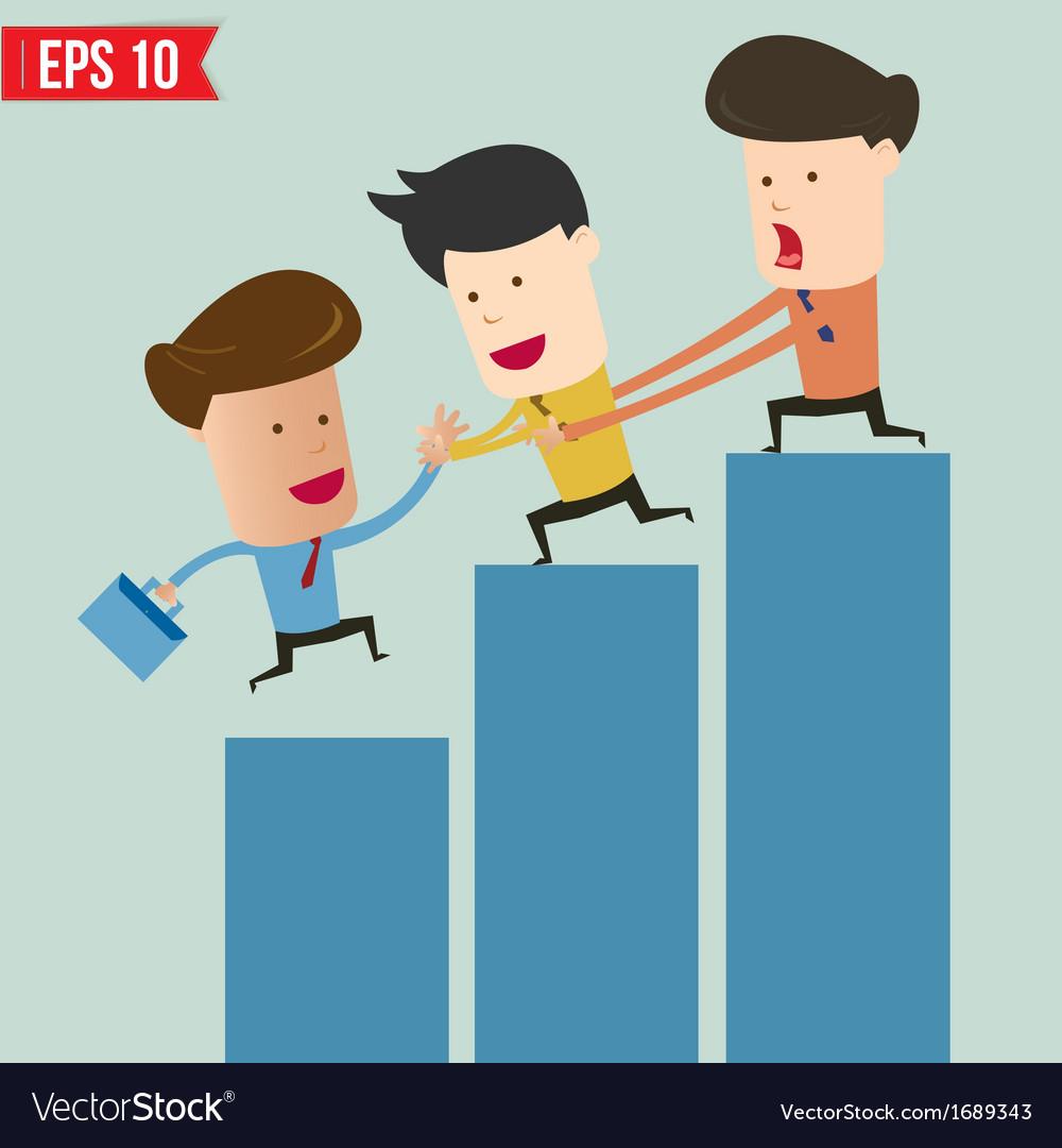 Cartoon business man helping team climbing graph - vector | Price: 1 Credit (USD $1)