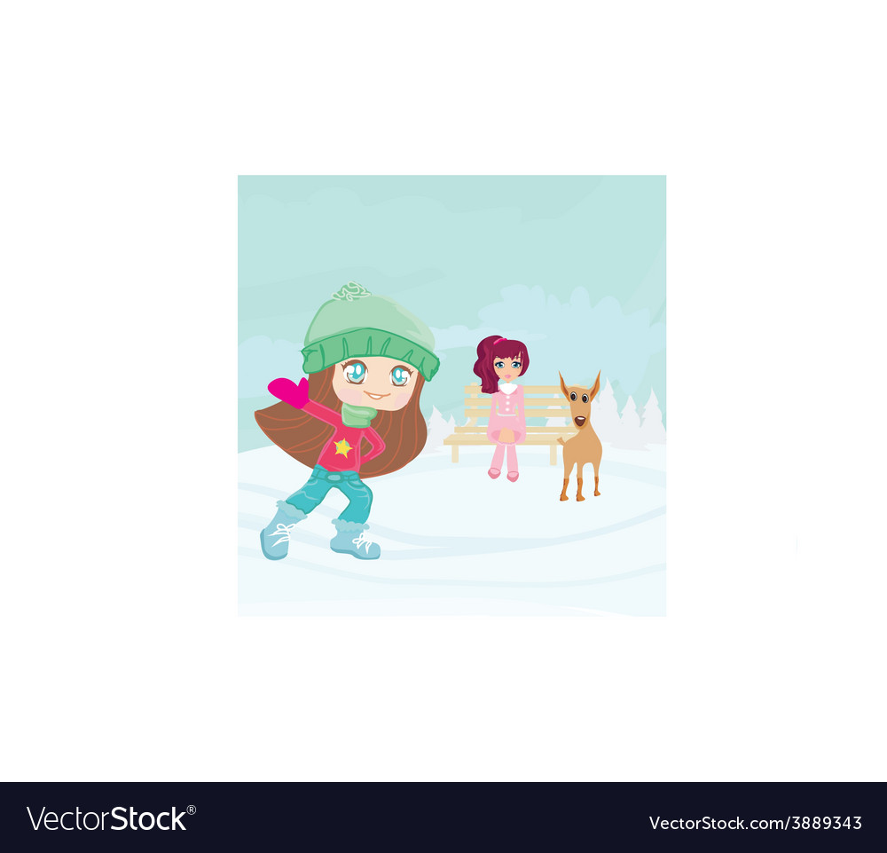Fun in the snow on a winter day vector | Price: 1 Credit (USD $1)
