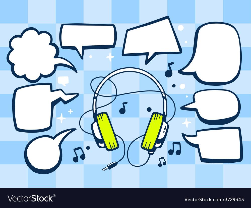 Headphones with speech comics bubbles on vector | Price: 1 Credit (USD $1)