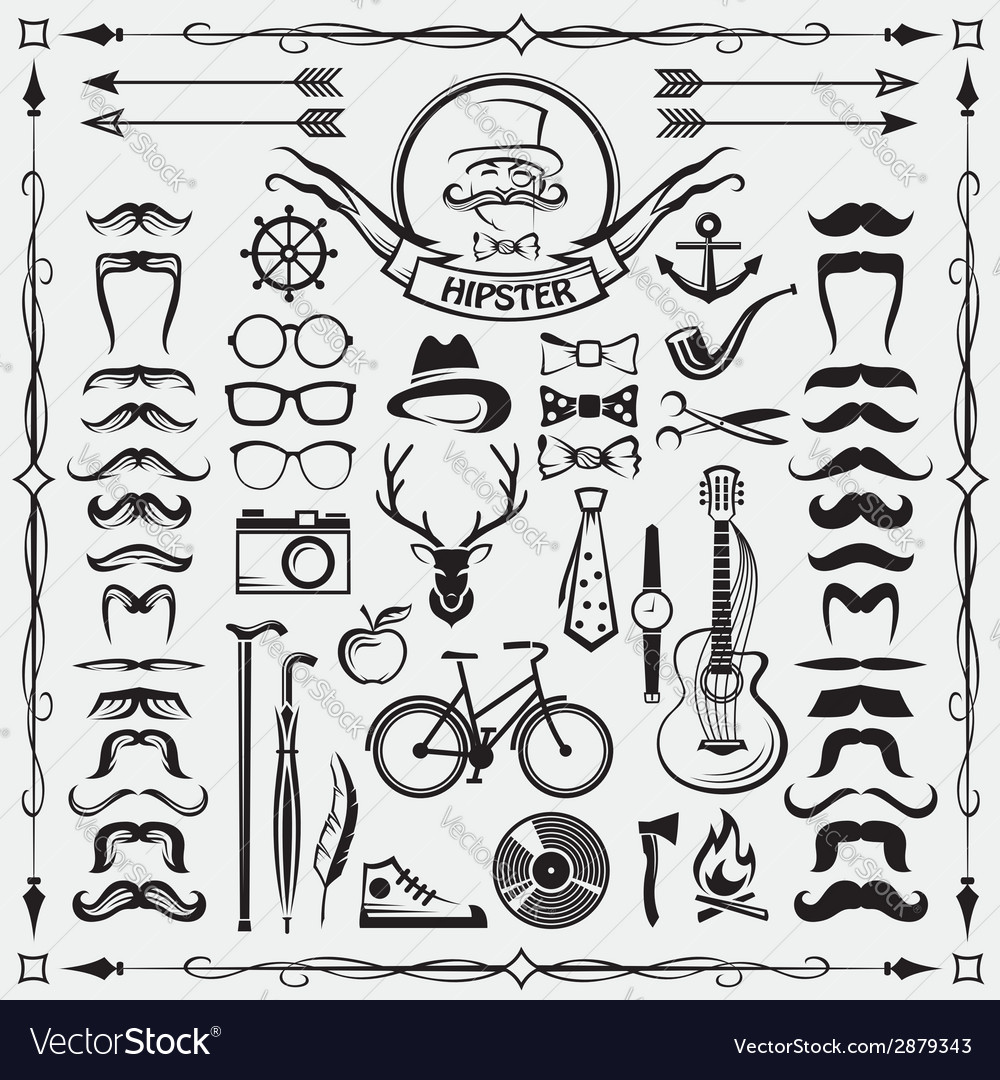 Hipster style elements vector | Price: 1 Credit (USD $1)