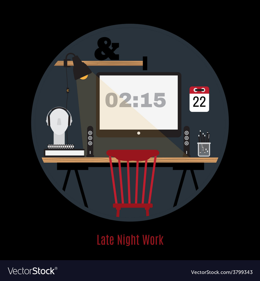Modern office workspace freelance night vector | Price: 1 Credit (USD $1)