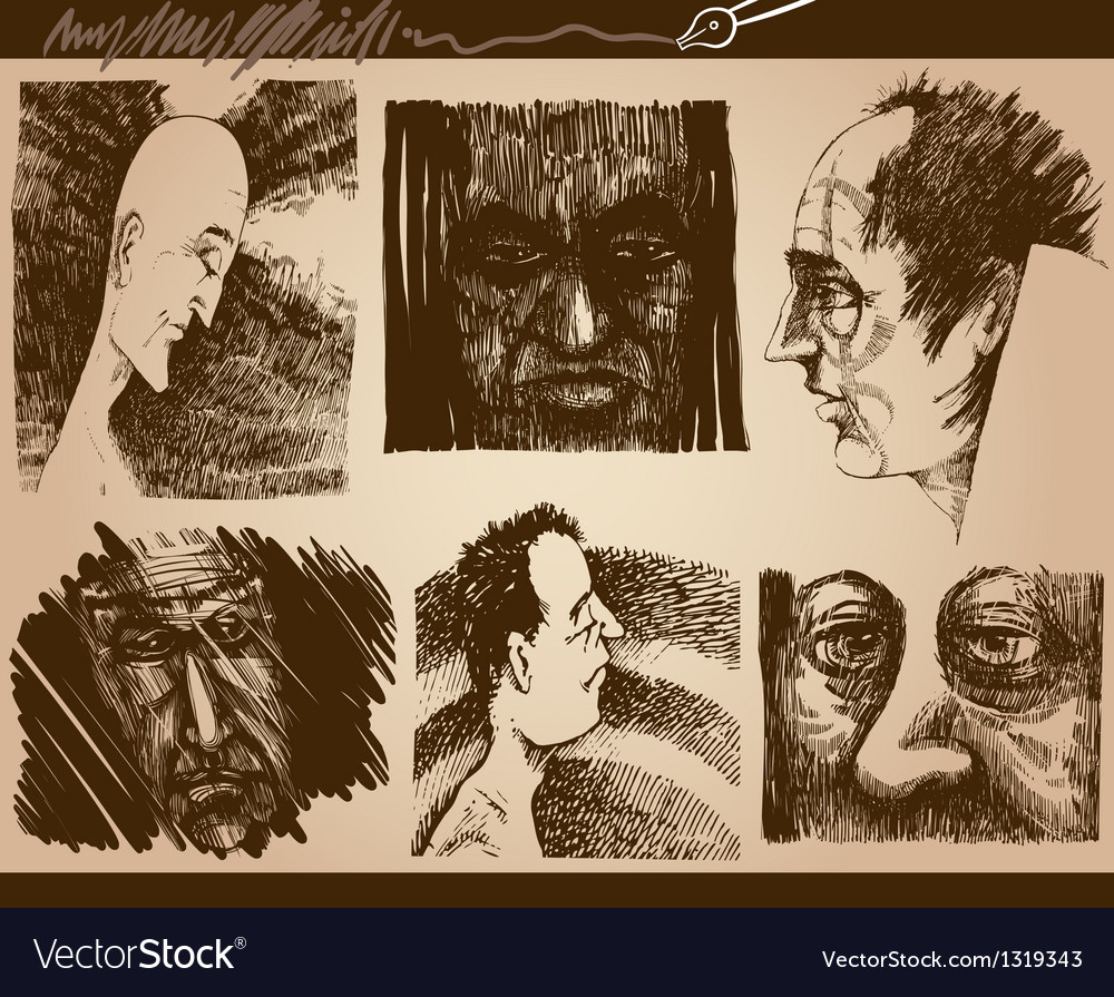 People faces sketch drawings set vector | Price: 1 Credit (USD $1)
