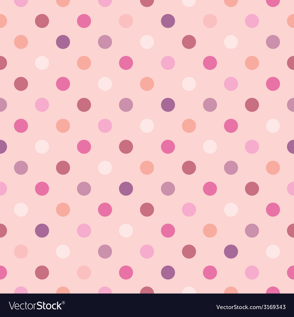 Tile pattern with polka dots on pink background vector | Price: 1 Credit (USD $1)
