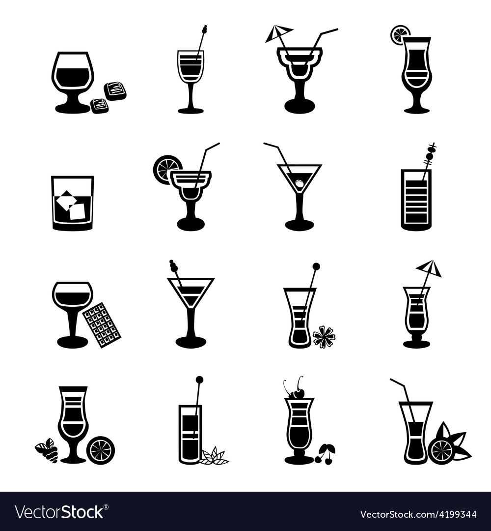 Black and white cocktail icons set vector | Price: 1 Credit (USD $1)