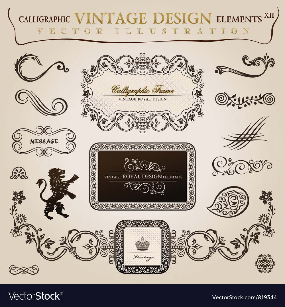Calligraphic elements vintage vector | Price: 1 Credit (USD $1)