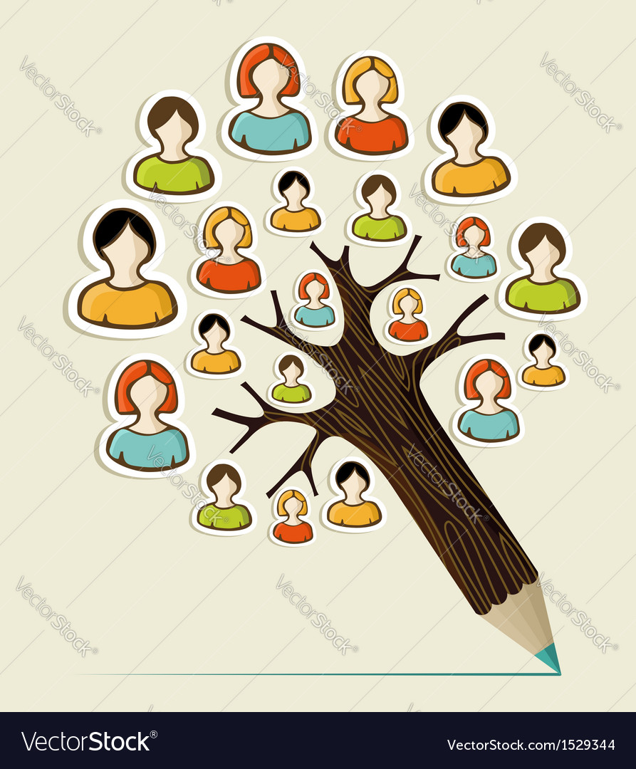 Diversity people concept pencil tree vector | Price: 1 Credit (USD $1)