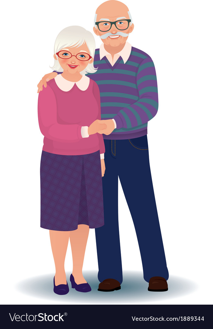Elderly couple in love vector | Price: 1 Credit (USD $1)