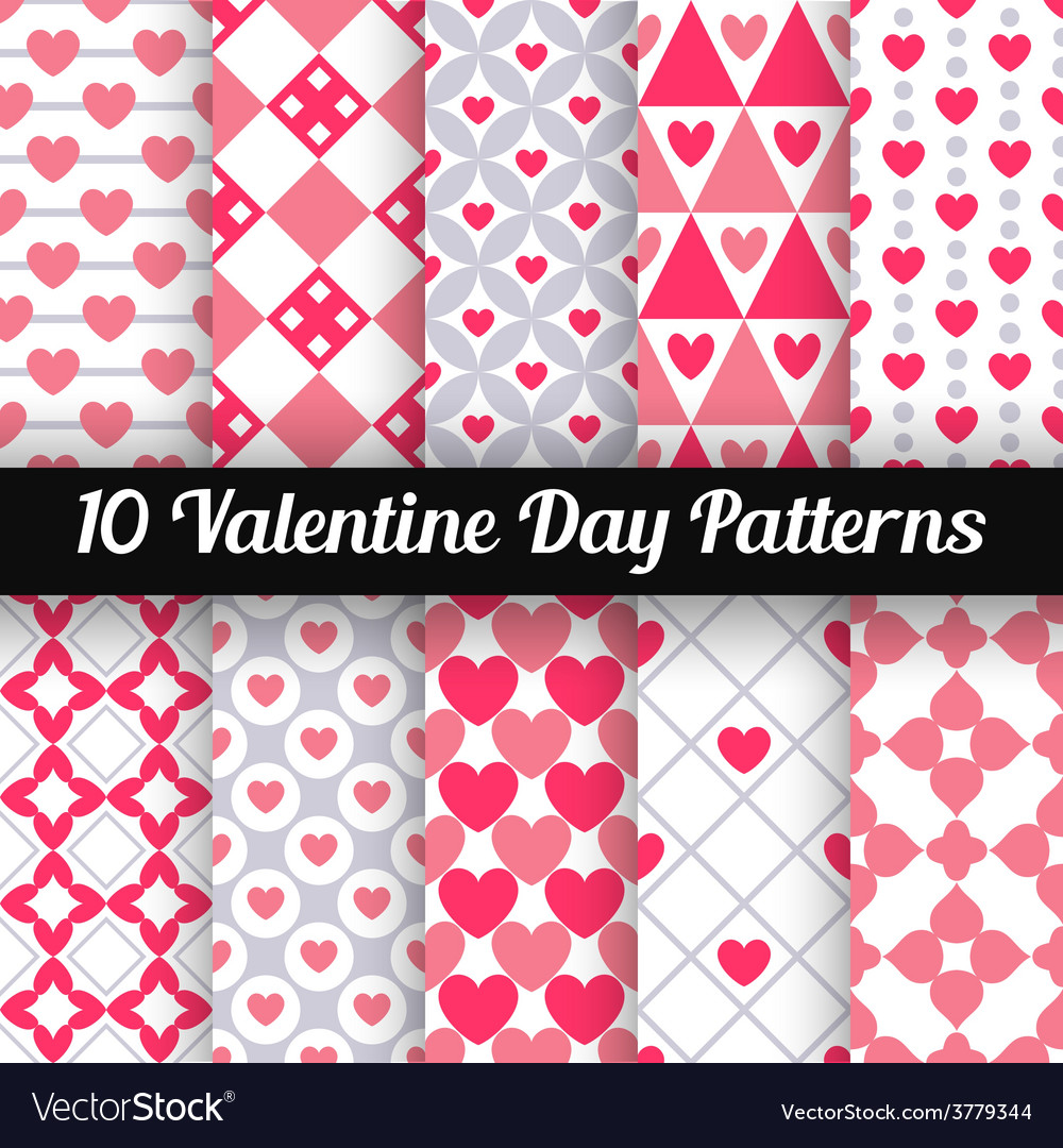 Heart shape seamless patterns pink color vector | Price: 1 Credit (USD $1)