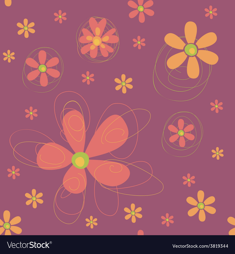 Seamless background with funky flowers vector | Price: 1 Credit (USD $1)