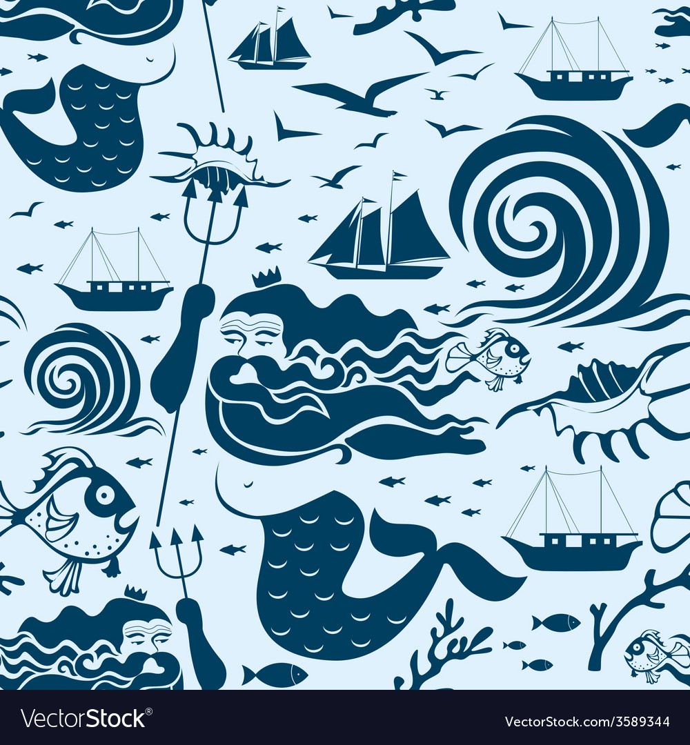 Seamless pattern with neptune king vector | Price: 1 Credit (USD $1)